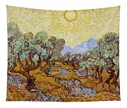 Olive Trees With Yellow Sky And Sun Tapestry
