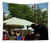 People At Food Event Tapestry