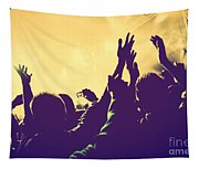 People With Hands Up In Night Club Tapestry