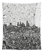 Philadelphia Skyline Map 4 Tapestry