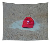 Phillies Hat On Home Plate Tapestry