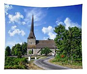 Picturesque Rural Church Tapestry