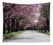Pink Blooming Trees Tapestry