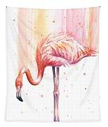 Pink Flamingo Watercolor Rain Tapestry