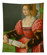 Portrait Of A Woman With A Book Of Music Tapestry