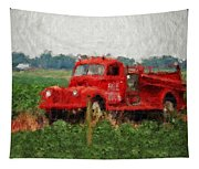 Red Fire Truck Tapestry