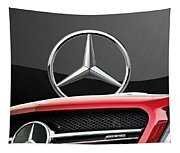 Red Mercedes - Front Grill Ornament And 3 D Badge On Black Tapestry
