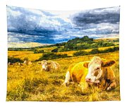 Resting Cows Art Tapestry