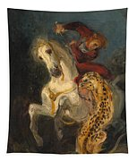 Rider Attacked By A Jaguar Tapestry
