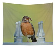 Robin With Worm I Tapestry