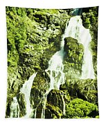 Rocky Mountain Waterfall Tapestry