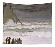 Rough Sea At Etretat Tapestry