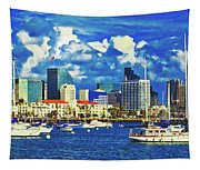 Sailing In San Diego Bay  Tapestry