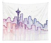 Seattle Skyline Watercolor Tapestry