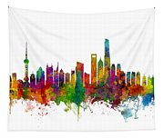 Shanghai China Skyline Tapestry