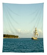 Ship Off The Bow Tapestry