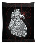 Silver Human Heart On Black Canvas Tapestry