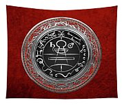 Silver Seal Of Solomon - Lesser Key Of Solomon On Red Velvet  Tapestry