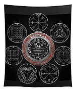 Silver Seal Of Solomon Over Seven Pentacles Of Saturn On Black Canvas  Tapestry