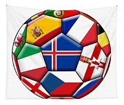 Soccer Ball With Flag Of Iceland In The Center Tapestry