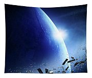 Space Junk Orbiting Earth Tapestry