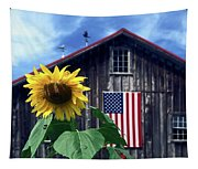 Sunflower By Barn Tapestry