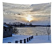 Sunset Over Obear Park In Snow Tapestry