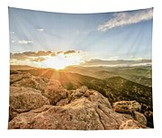 Sunset Over The Mountains Of Flaggstaff Road In Boulder, Colorad Tapestry