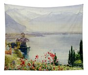 The Castle At Chillon Tapestry