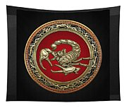Treasure Trove - Sacred Golden Scorpion On Black Tapestry