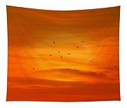 Upon A Sunset Flight Tapestry