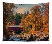 Vermont Covered Bridge Over The Dog River Tapestry