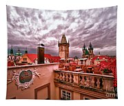 View From The Top In Prague Tapestry