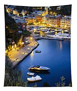 View Of The Harbour At Dusk  Portofino Tapestry