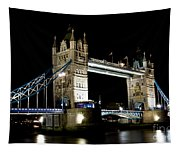 View Of The River Thames And Tower Bridge At Night Tapestry