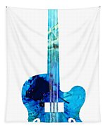 Vintage Guitar 2 - Colorful Abstract Musical Instrument Tapestry by Sharon Cummings