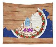 Virginia Rustic Map On Wood Tapestry