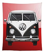 Volkswagen Type 2 - Black And White Volkswagen T 1 Samba Bus On Red  Tapestry