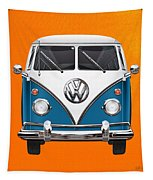 Volkswagen Type 2 - Blue And White Volkswagen T 1 Samba Bus Over Orange Canvas  Tapestry