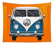 Volkswagen Type 2 - Blue And White Volkswagen T 1 Samba Bus Over Orange Canvas  Tapestry