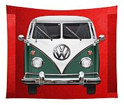 Volkswagen Type 2 - Green And White Volkswagen T 1 Samba Bus Over Red Canvas  Tapestry