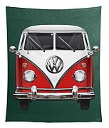 Volkswagen Type 2 - Red And White Volkswagen T 1 Samba Bus Over Green Canvas  Tapestry