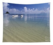 White Double Hull Canoe Tapestry