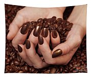Woman Holding Coffee Beans In Her Hands Tapestry