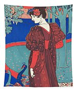Woman With Peacocks Tapestry