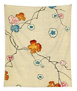 Woodblock Print Of Fall Leaves Tapestry