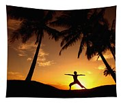 Yoga At Sunset Tapestry