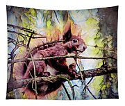 11452 Red Squirrel Sketch Square Tapestry