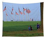 17 Flags 7 People 1 Tree Trunk Tapestry