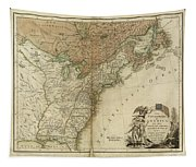1783 United States Of America Map Tapestry